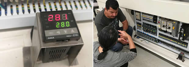 Training for solder pot temperature controller setting