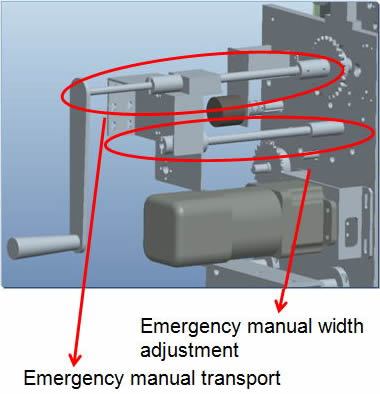 Emergency manual width adjustment Emergency manual transport