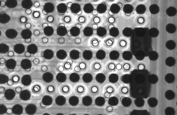 Dimensional view of solder balls