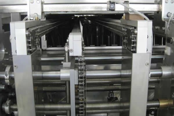 Guide rail + central support transmission without mesh belt