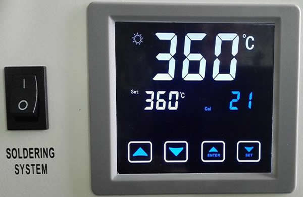 Heating system: Touch screen control panel for temperature setting.