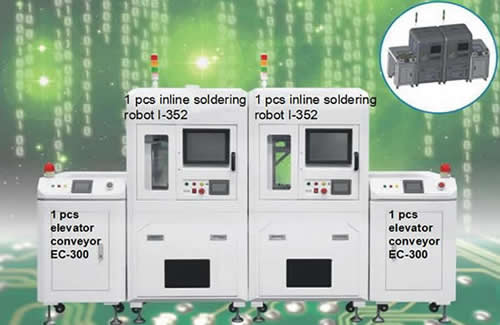 Remark : One complete line contains one pcs inline soldering robot I-352 and two pcs elevator conveyors EC-300.