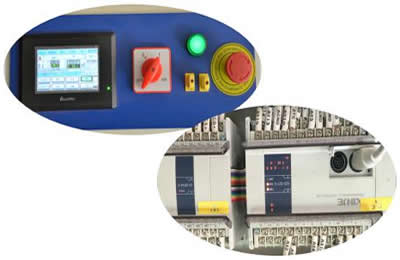 Touch screen and PLC controlling system.