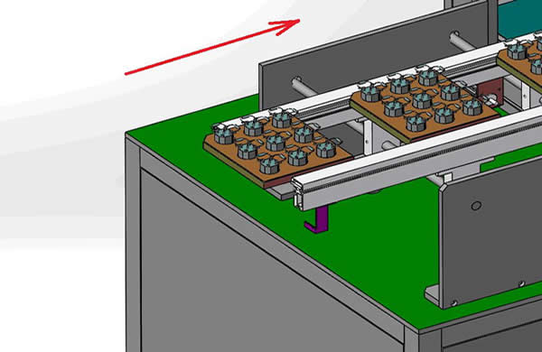 Step1.Put the fixture with the product into the belt on the left side of the feeder to carry on the material (can also connect the front automatic SMT line by SMEMA), the distance between the two fixtures is not less than 50mm.