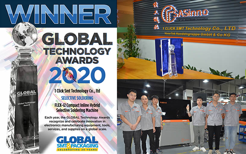 1CLICKSMT's Flex-i2 machine winning Global Technology Award in selective soldering machine category